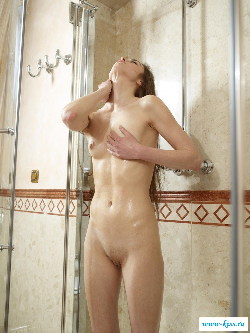 Skinny naked shower