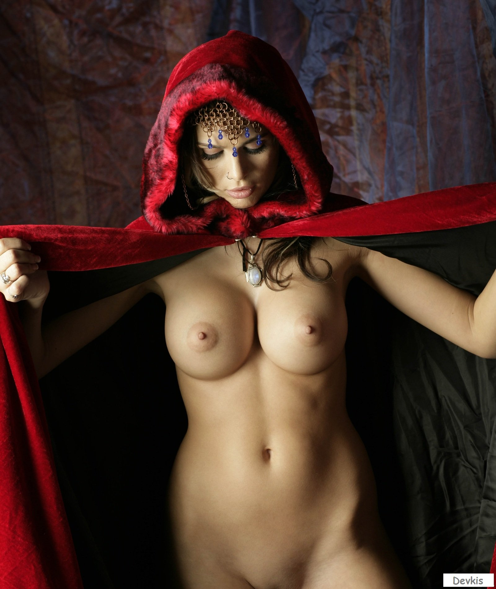 Old Vintage Odd Weird Scary Strange Nude Sexy Big Butt Witch Witches Broom Photo