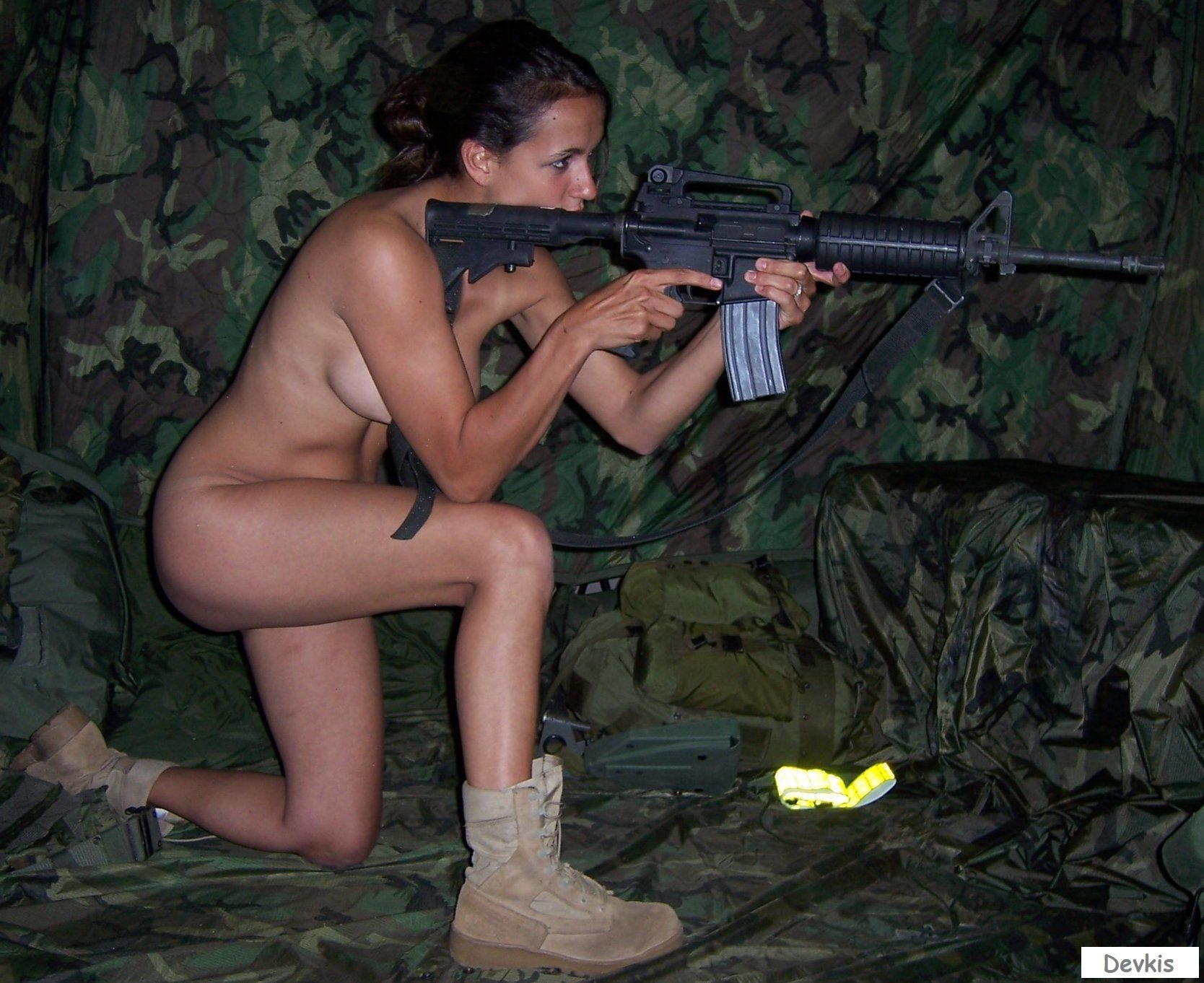 Topless female soldiers