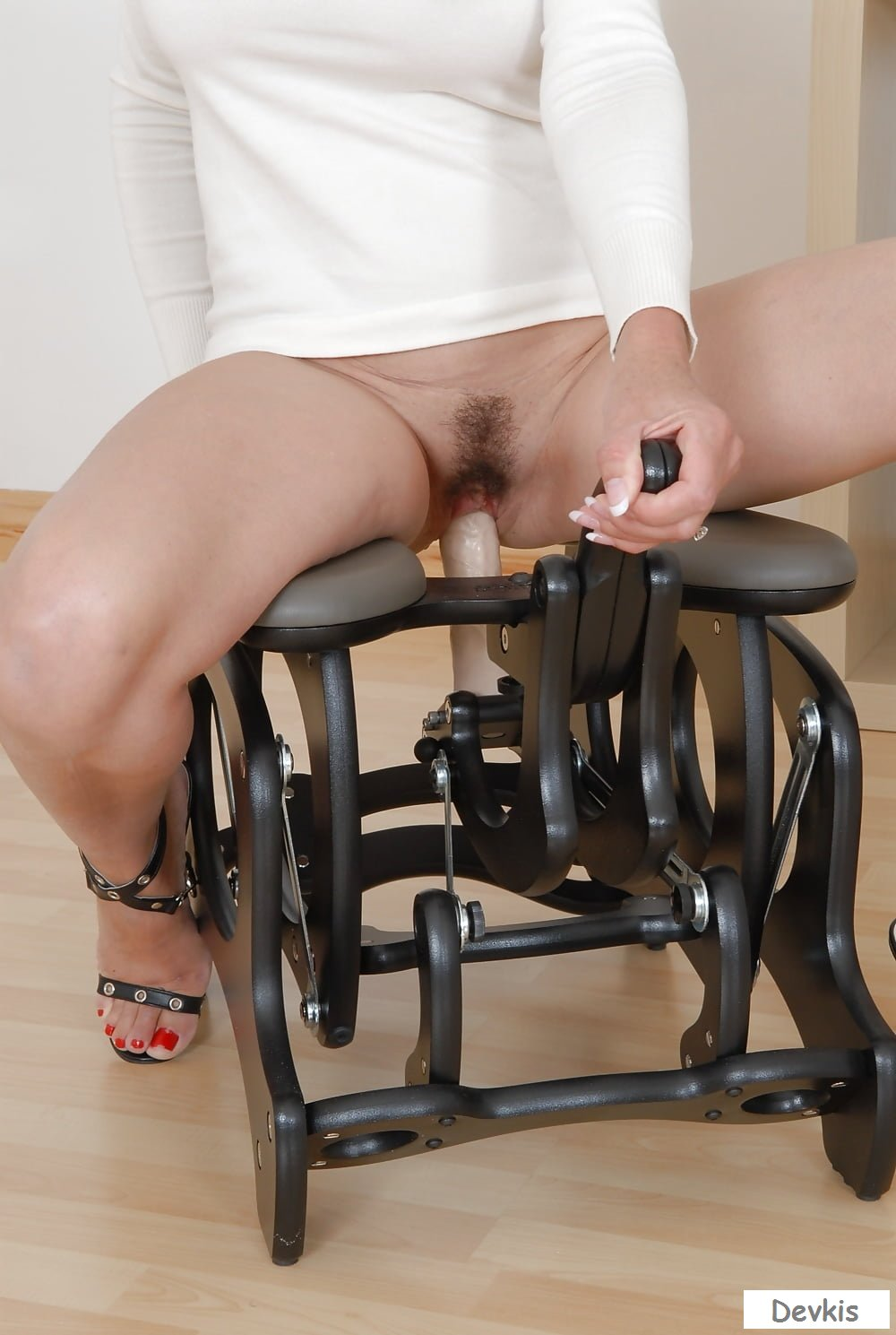 Mexican girlfriend rides on chair