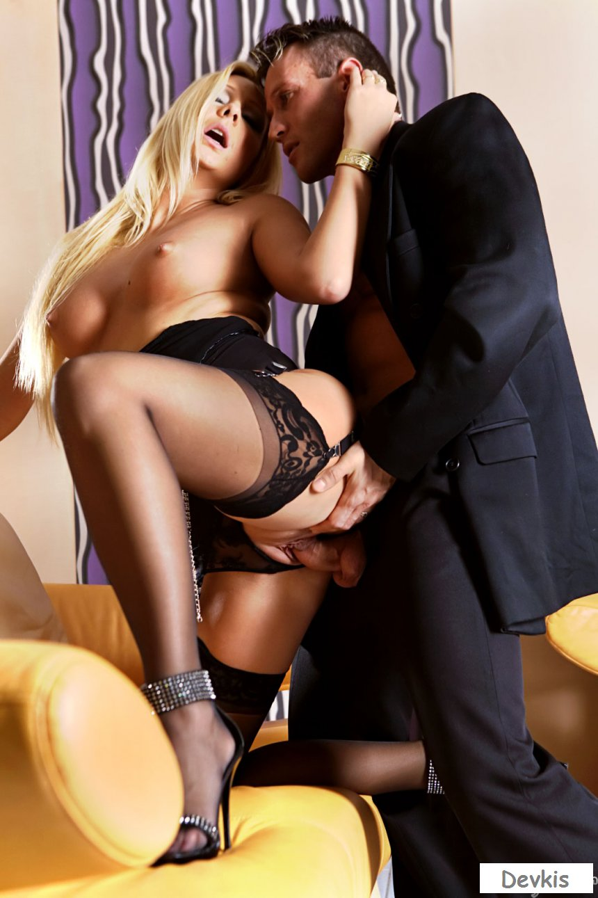 Hot fucking with sexy blonde in stockings